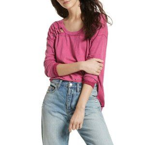 Free People Berry Twilight First Love Linen Henley